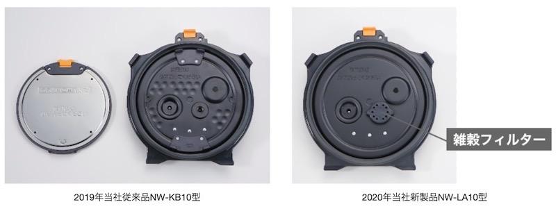 従来品(2019年NW-KB型)の内ぶたでは、2つに分解して毎回洗う必要があったが、新製品では毎回の炊飯後に洗う点数が、内釜と内ぶたの2点のみとなった