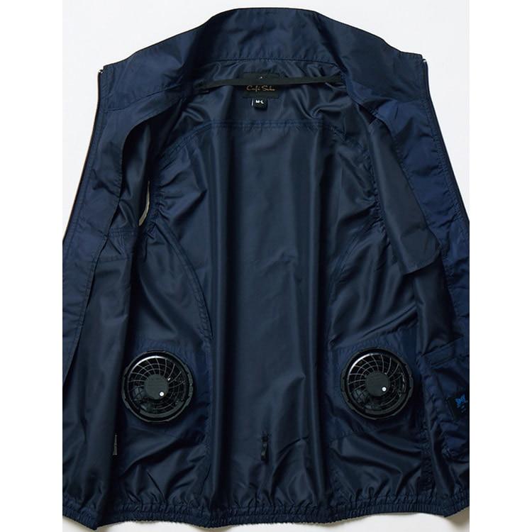 衣服内に直接風を送り込むことで、汗を気化させ、温度を下げる