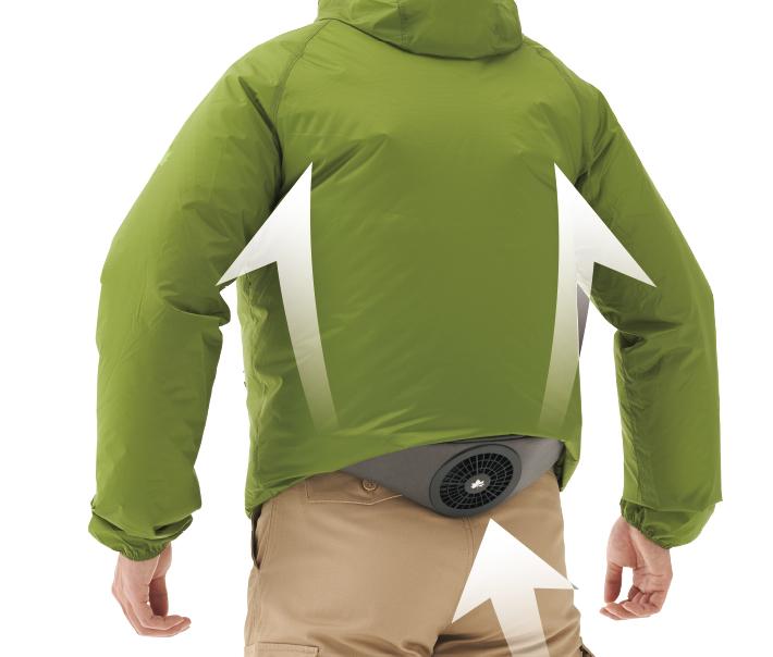 本体を腰にセットして稼働させると、上半身にまんぜんなく風が行き渡る