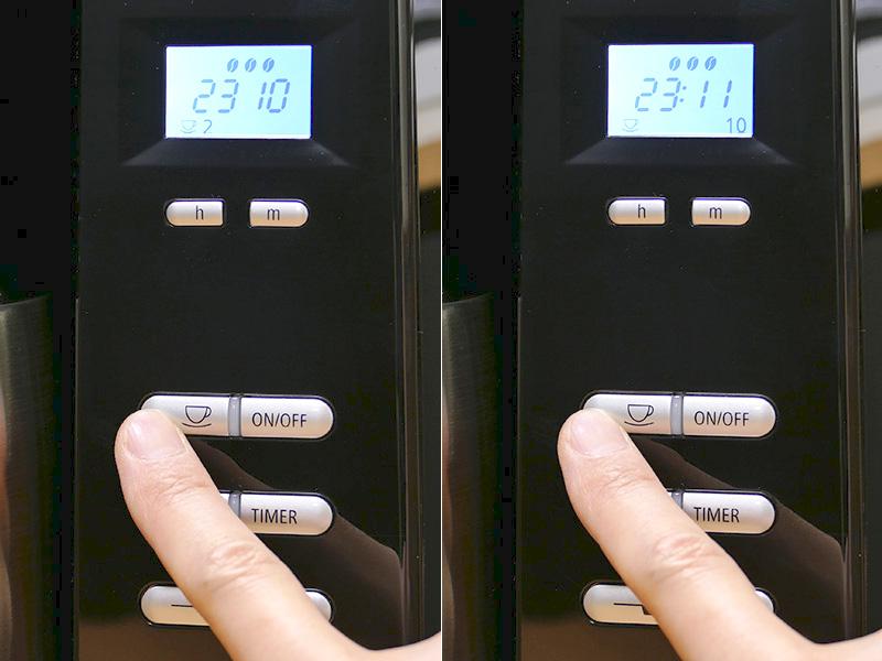 挽く豆の量は[杯数ボタン]を押すごとに2・4・6・8・10杯と選択できる
