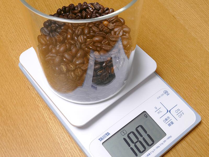 180gの豆は、1杯8gを使うメリタ式なら最低でも22杯分だ