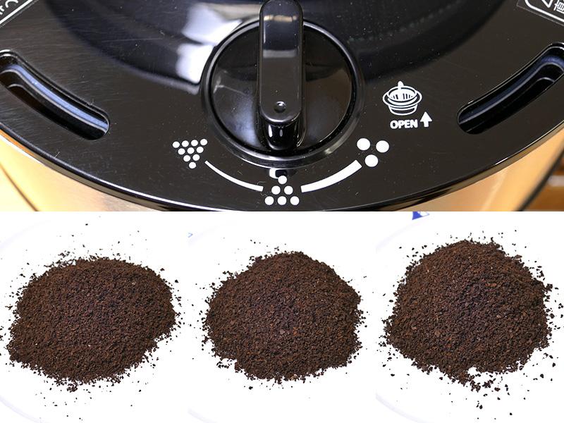 左から中細挽き~中挽の間3段階、本体上面にあるダイヤルを回して好みの粒度が選べる。微粉がほとんど目立たない