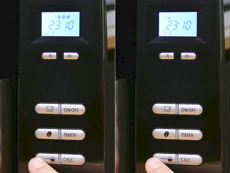 写真左は豆モード時(豆マークが表示される)。[コーヒー粉ボタン]を押せば、ミルを使わない既存の挽いてあるコーヒー粉を使った抽出へ切り替えもできる(右・スプーンマークが表示)。