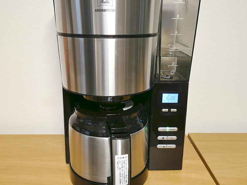 豆を挽くところから、すでに良い香りが漂う。約4杯分のコーヒーが6分40秒ほどでできあがった