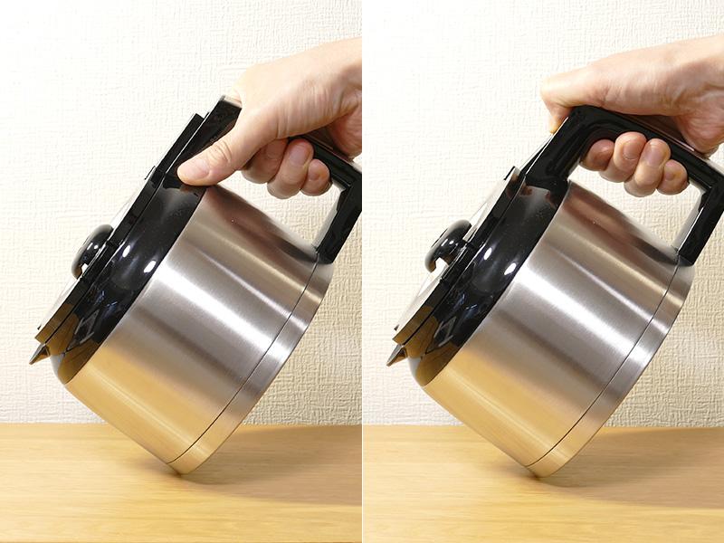ポットは密閉性が高く、注水レバーを押さないと(右)コーヒーは注げない