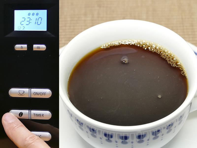 【コーヒー豆ボタン3】苦味も加わり、風味全体に深みが増した印象。色もさらに濃く抽出された。抽出時の香りも一番強く、とても美味しい