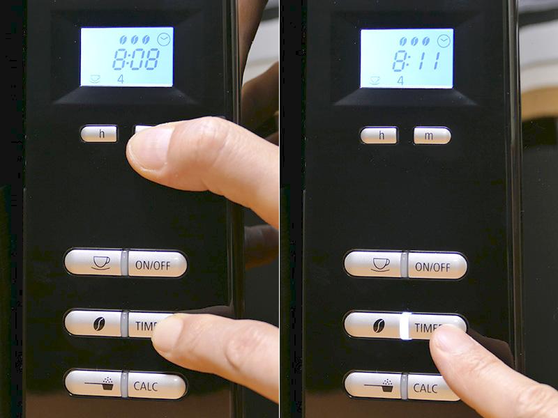 [タイマーボタン]を推しながら[hボタン]と[mボタン]を操作してタイマーでの希望抽出時刻を合わせる(左)。実行は[タイマーボタン]を押すだけ