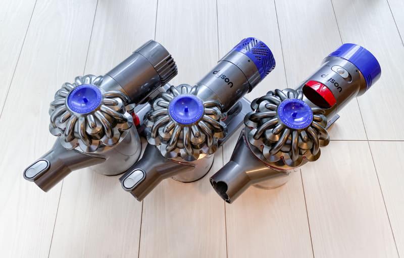 左からDyson DC61 motorhead/V6 Fluffy/V7 Slim
