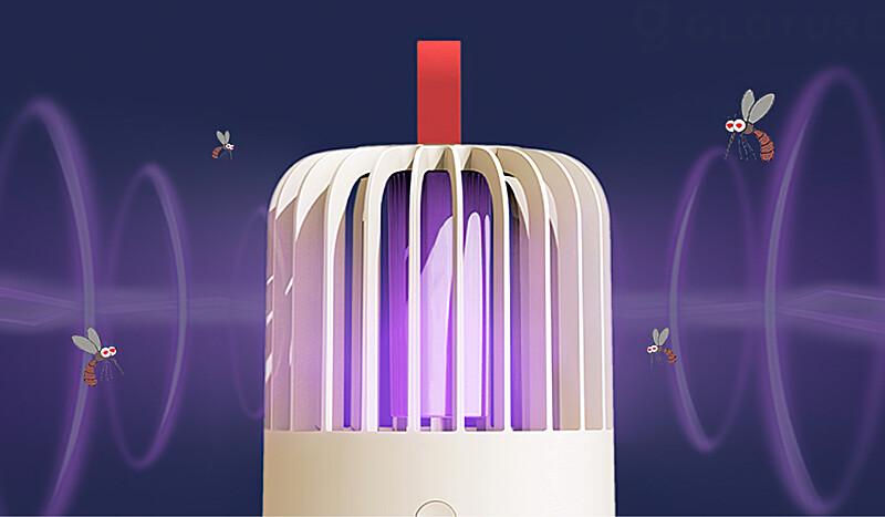 本体中央のUV LED(LED紫外線ランプ)が光り、虫を集める