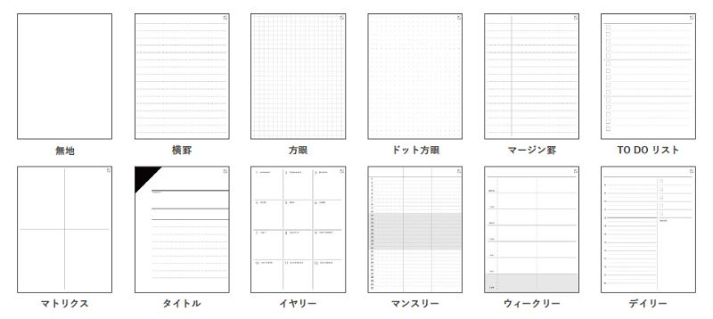 ノート機能では12種類のフォーマットを用意