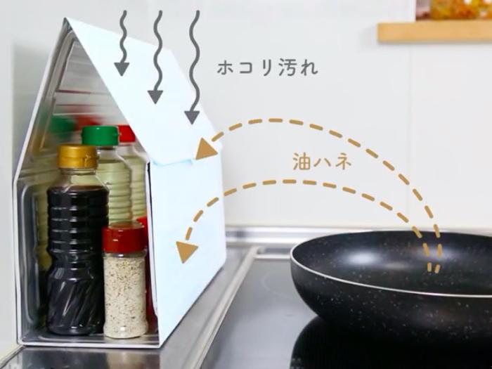 アルミ素材なので熱にも強く、調味料を油はねやホコリから守る