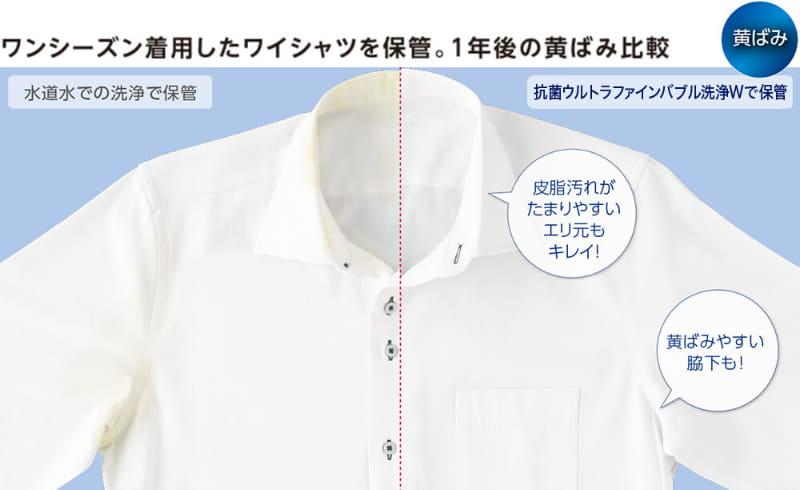 「抗菌ウルトラファインバブル洗浄W」により、繊維の奥の皮脂汚れをしっかり落とし黄ばみを防ぐ