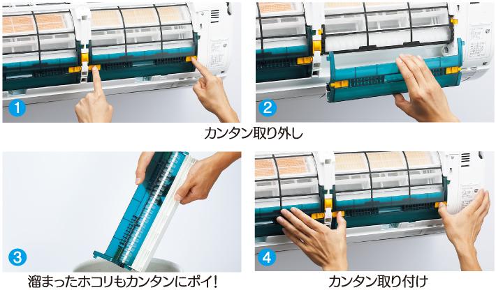 フィルター自動掃除機能は、ダストボックスのホコリを捨てるだけでOK(三菱重工サーマルシステムズ)