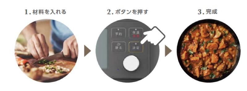 材料を入れてボタンを押すだけで調理可能。自動調理メニューも80種類と豊富