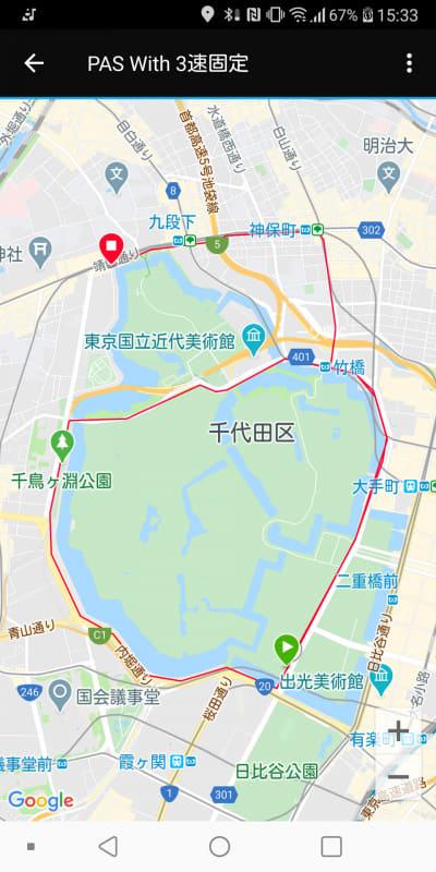 皇居を1周半する走行ルート。緑色の▶アイコンがスタート地点、赤い■アイコンがゴール地点となる