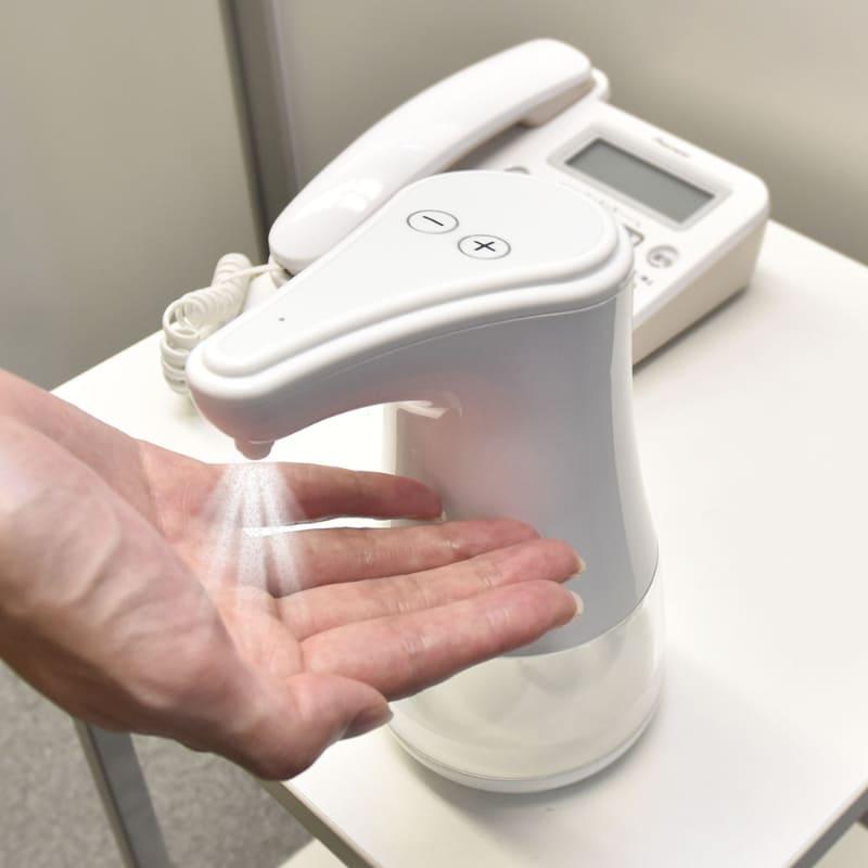 容器に手を触れずに消毒可能