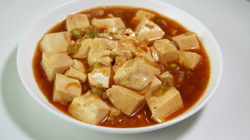 とろみのある麻婆豆腐ができた。辛くて本格的