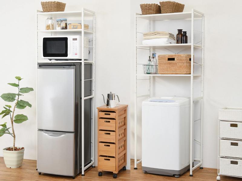 冷蔵庫ラック(左)と洗濯機ラック(右)