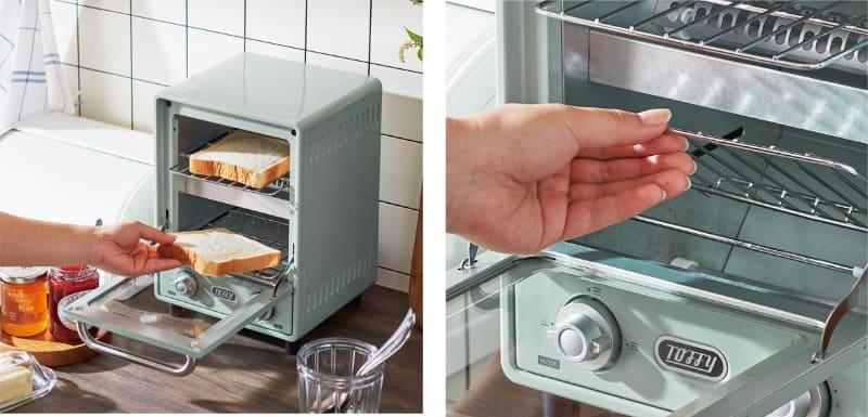 2枚焼きの縦型オーブントースター