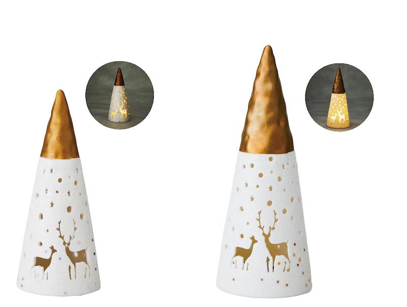 (左)ポタリーゴールドツリーS(2,000円)、(右)ポタリーゴールドツリーL(3,000円)