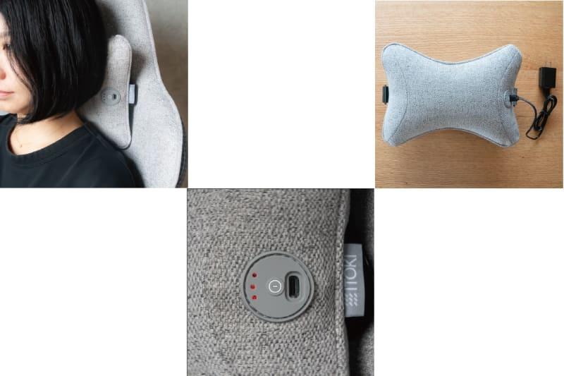 3段階で調節可能(写真中央)。首だけでなく(左)、腰などでも使える(右)