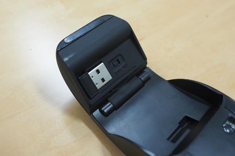 USBレシーバーをマウス本体に収納できる