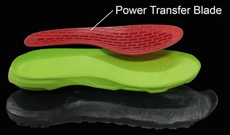 この「Power Trasnfer Blade(パワートランスファーブレード)」というプレートが効き、ペダルを踏んだ時に靴底があまり変形しない。ので、パワーロスが少ない(画像出典:シマノ)