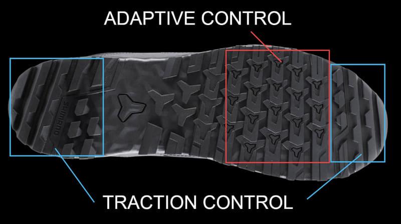 ET3の靴底。ペダルを踏む部分が「ADAPTIVE CONTROL(アダプティブコントロール」部で、様々なペダル形状にフィットし、ペダルに対して食いつきがよいので滑らず安定感があります。つま先とかかとは「TRACTION CONTROL(トラクションコントロール)」部で、舗装路でも未舗装路でも山道でも高いグリップ性能を発揮(画像出典:シマノ)