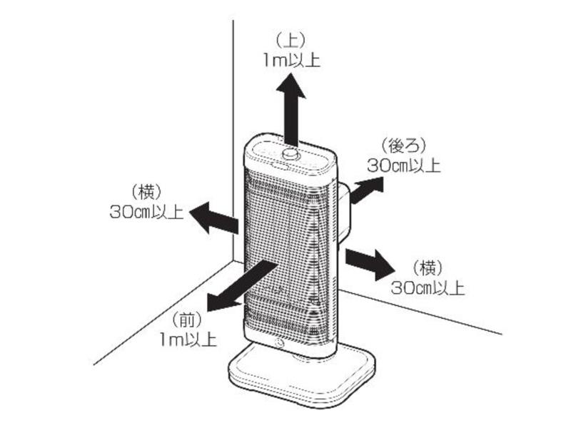 電気ストーブ使用時の距離の目安