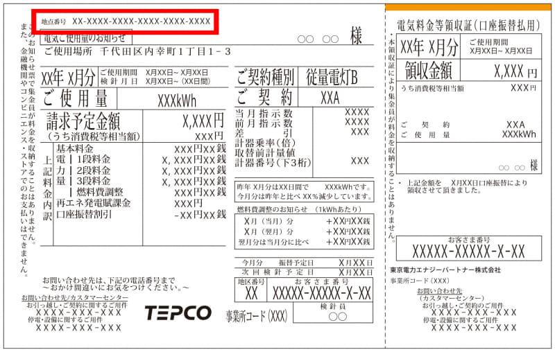 月々の電気代の請求書に記載されている「地点番号」が「供給地点特定番号」