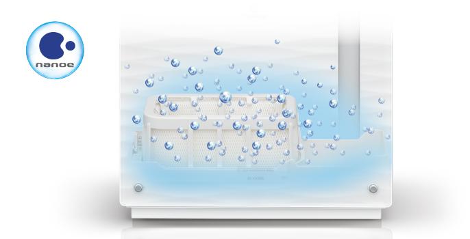 「ナノイー」を加湿フィルターに充満させ、加湿フィルターを清潔に保つ「フィルター清潔モード」を搭載する