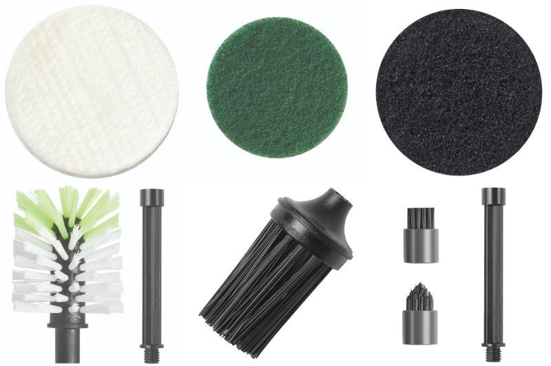 別売のアクセサリー。上段左から、ポリッシングパッド/キッチン用パッド/ハード磨きパッド、下段左からキッチン用ブラシ/コーナーブラシ/スポットブラシ
