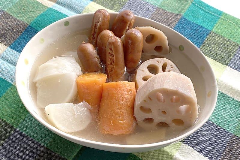 完成した蒸しポトフ。生姜の香りが美味しそう