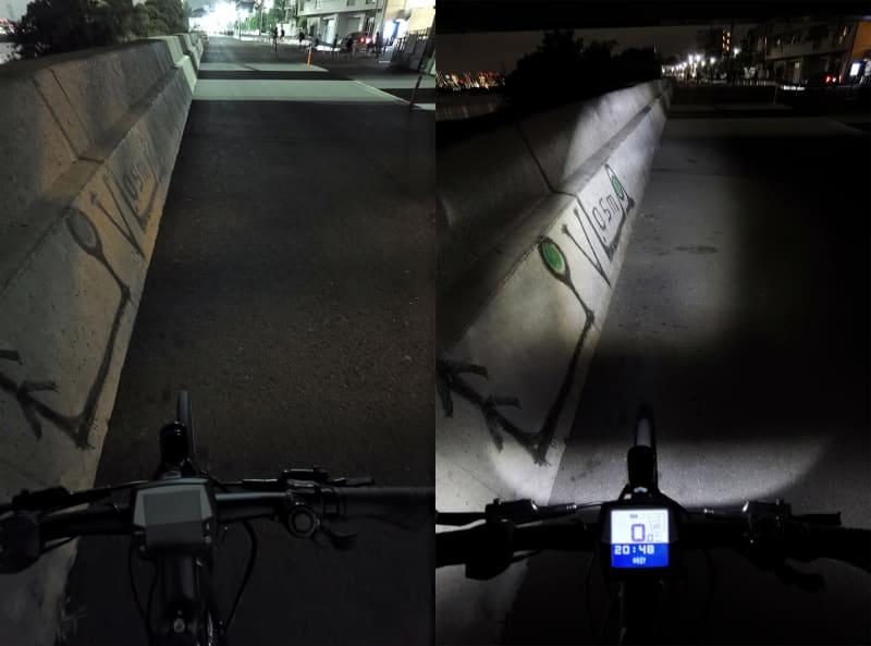 夜の橋の下にて。左がライトオフ、右がライトオン