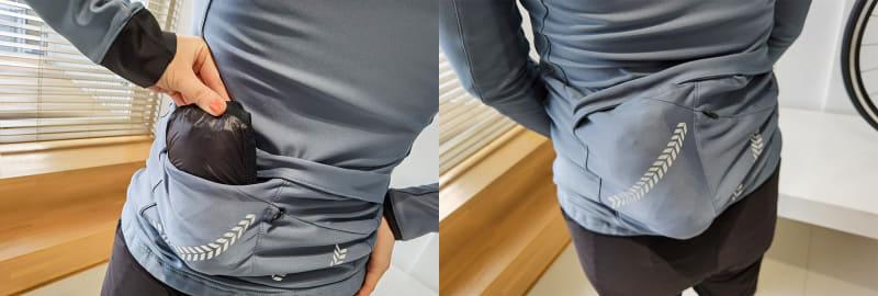 専用ジャケットならスマホや財布はもちろん、レインジャケットなども安心収納