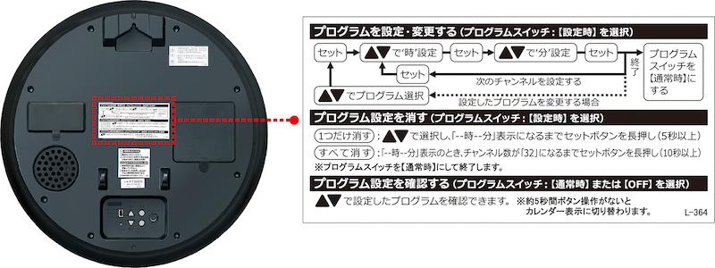 時計背面に設定方法が書かれている