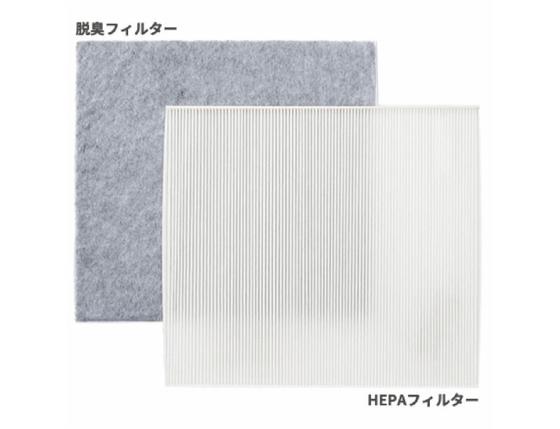 HEPAフィルターと脱臭フィルターで微細な粒子をキャッチ