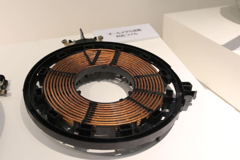 オールメタル用の高周波に対応したコイル。より細い電線を1,600本束ねている