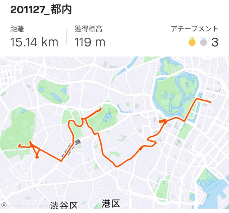 都内をぐるぐる15km走りました。アシストとサスペンションのおかげで思ったよりもしんどくない!