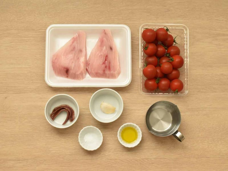 ミニトマトの量はお好みで調整してください