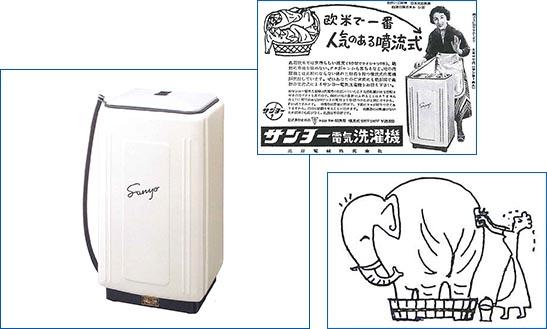 1953年(昭和28年)に三洋が日本初の噴流式洗濯機を発売。以降60年以上、縦型洗濯機の基本となっている。バケツの丸型から四角に変わったのも革新的