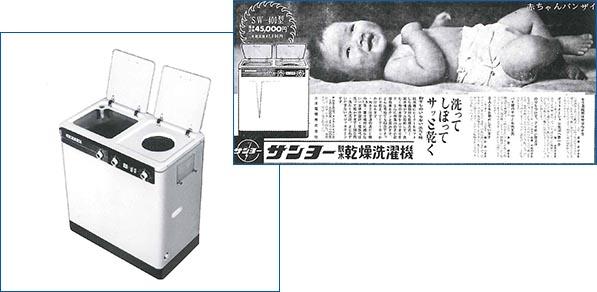 物干しのいらない洗濯機と話題になった、日本初の脱水機つきの2槽式も三洋。1960年(昭和35年)