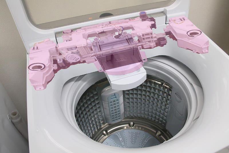 この画像のピンク色の部分が、超音波部分洗浄ユニットと洗剤・柔軟剤自動投入、そして洗剤の泡立てユニット。この部分は全5モデル共通だという(実機と内部パーツの画像を合成したもの)