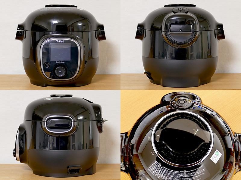 本体サイズは324×314×268mm(幅×奥行き×高さ)で、重量は約4.8kg。ふた上部に「ふた開閉ロック」がある。蒸気は自動排出するので、蒸気排出ボタンは無い