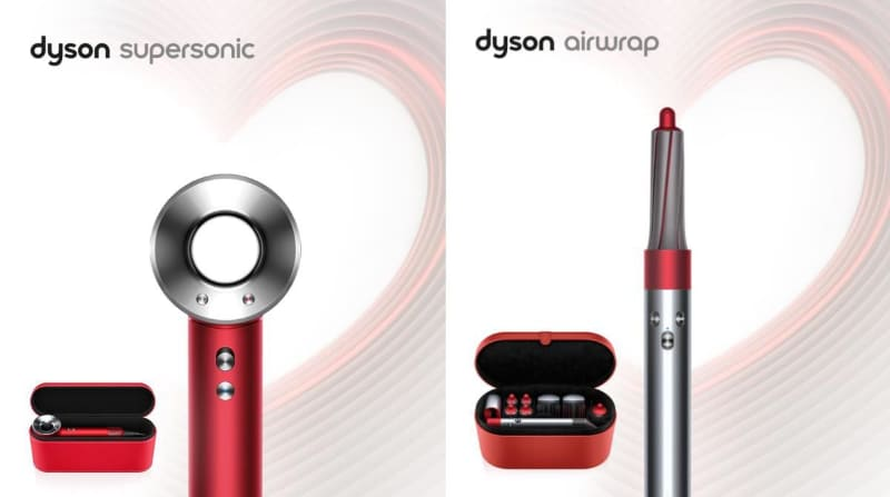 「Dyson Supersonic Ionic ヘアドライヤー」と「Dyson Airwrap スタイラー」のレッドカラーモデル