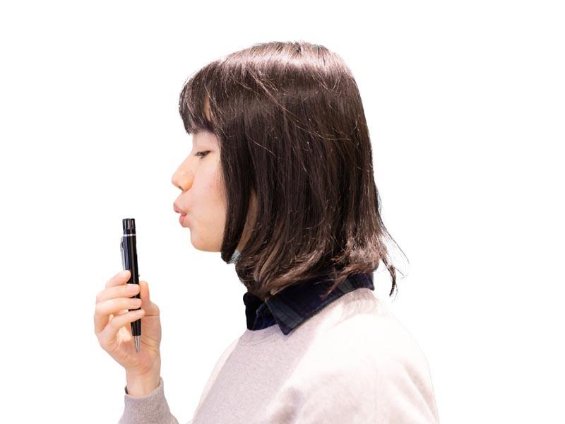 ペン上部に息を吹きかけて判定する