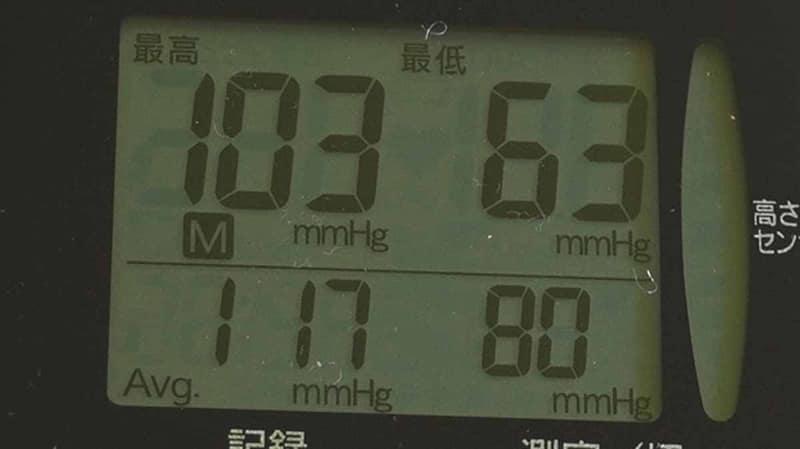 「M(メモリー)」ボタンを押すと下に平均値が表示される