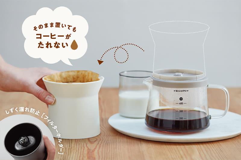 フィルターホルダーを取り外してもコーヒーが漏れない仕組み