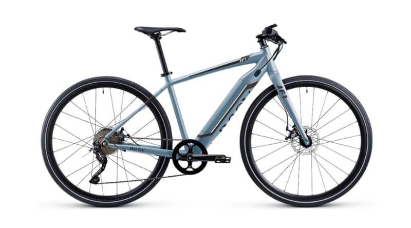 クロスバイクタイプのe-bike「JF1」。カラーはグロスブルー、グロスホワイト、マットマットブラックの3色。価格は253,000円