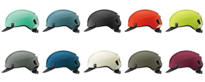 キャンバス-アーバンのカラーは、マットオフホワイト、マットブラック、マットグレー、マットネイビー、マットオリーブ、マットアッシュブルー、マットワインレッド、マットフラッシュイエロー、マットフラッシュレッド、マットターコイズ。サイズはM/L(57-59cm)